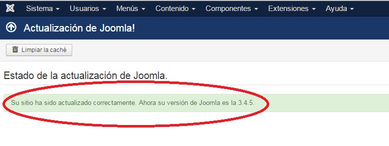 Joomla!: Actualización de Joomla!: Notificación de finalización de actualización
