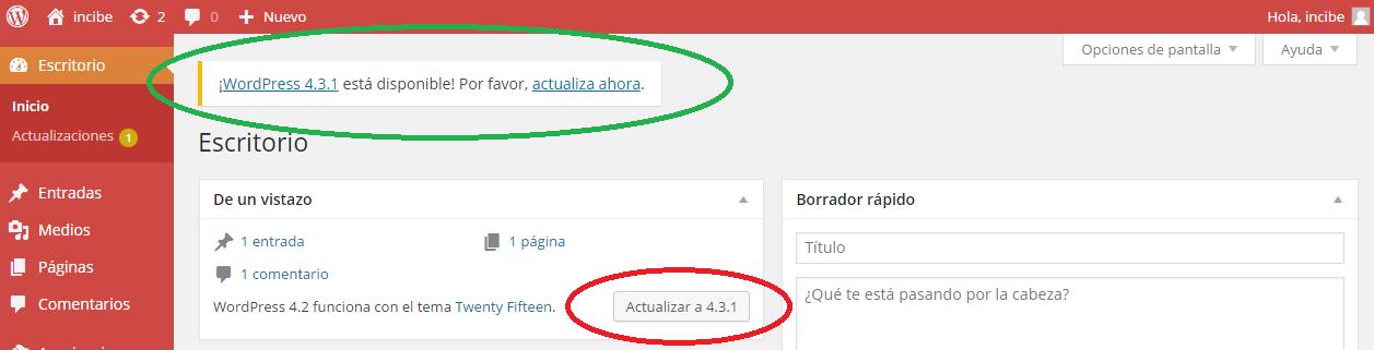 Pantalla de consola de administración de WordPress: Disponibilidad de actualización