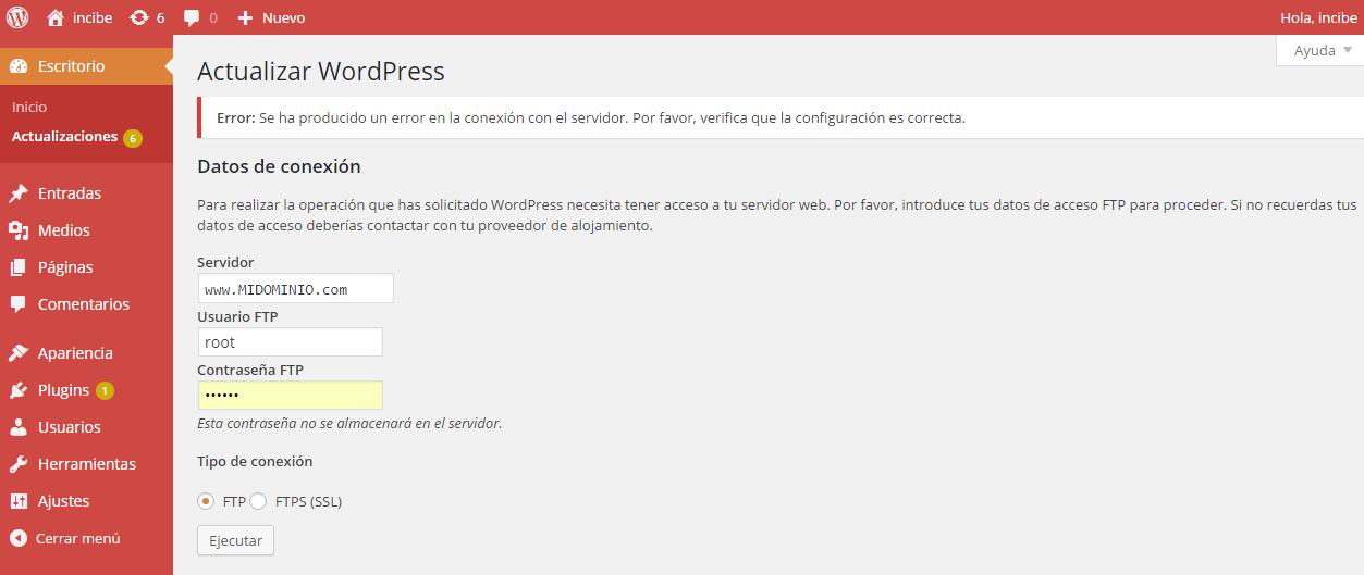 Pantalla de actualización de WordPress: Error de conexión con el servidor