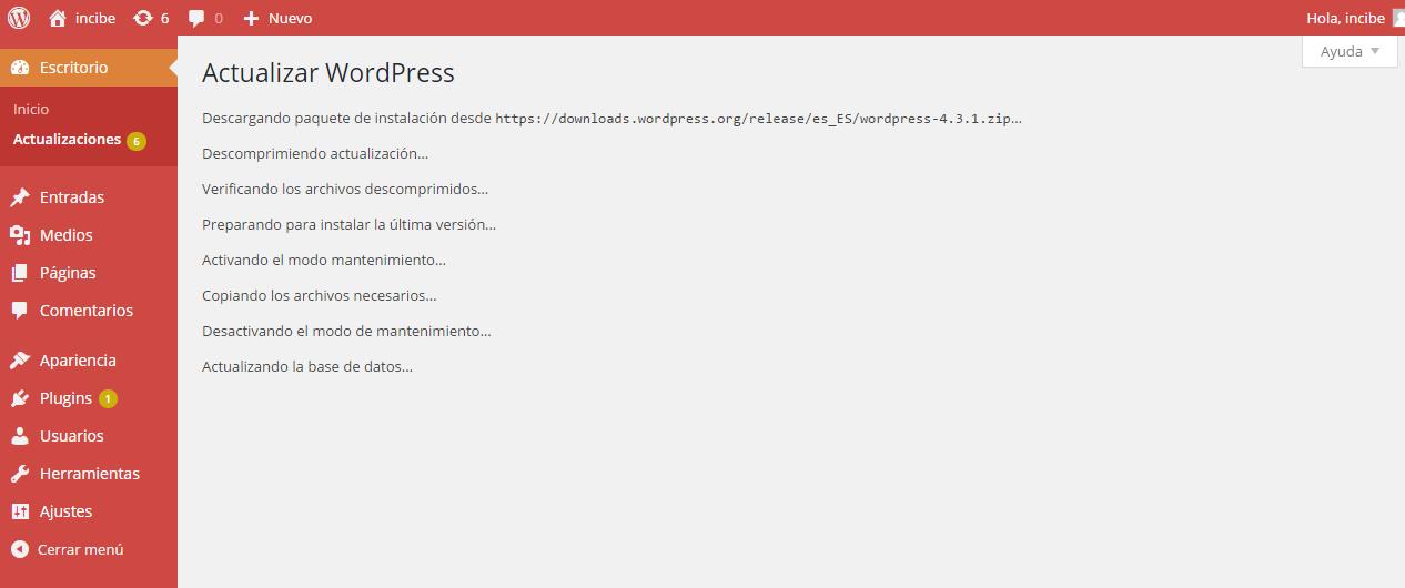 Pantalla de actualización de WordPress: Comienzo de actualización automática