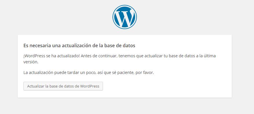 Pantalla de finalización de actualización de WordPress: Solicitud de actualización de la base de datos