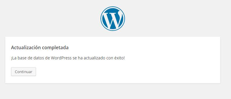 Pantalla de finalización de actualización de WordPress: Notifiicaciín de finalización exitosa de actualización