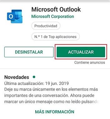 Actualización Microsoft Outlook