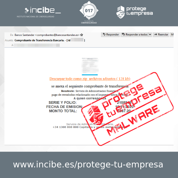 Correo malicioso suplantando al Banco Santander cuyo proposito es difundir malware