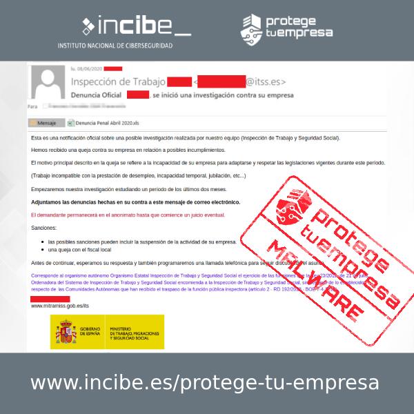 Imagen del correo fraudulento que difunde malware utilizando como gancho un archivo adjunto