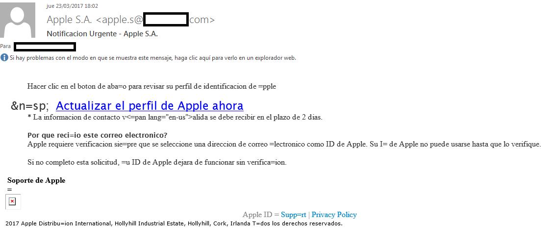 Mensaje fraudulento suplantando a Apple
