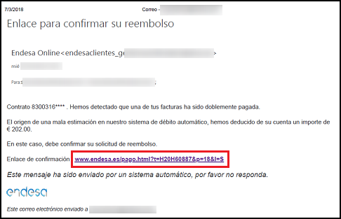 Imagen que muestra el correo electrónico fraudulento con el enlace a la dirección maliciosa