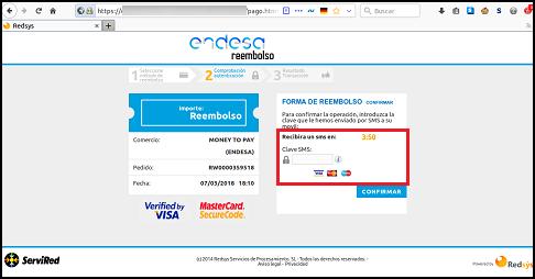 Imagen que muestra la supuesta página donde incluir el sms que llega tras hacer un pago legítimo al banco