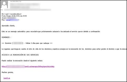 Imagen que muestra el correo electrónico fraudulento donde figura el enlace al falso servicio
