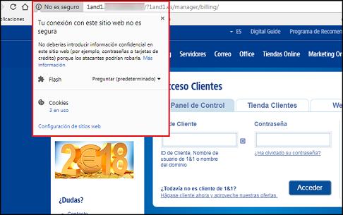 Imagen que muestra que no se está bajo protocolo seguro https y que indica que la web NO es segura