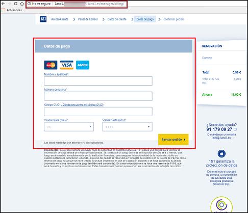 Imagen que muestra la página fraudulenta que simula ser una pasarela de pago, donde resalta la dirección falsa y los cuadros donde se introducirán datos bancarios
