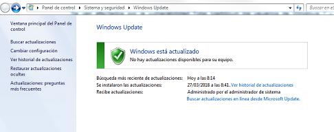 Imagen que muestra las actualizaciones de windows siguiendo la ruta anteriormente marcada