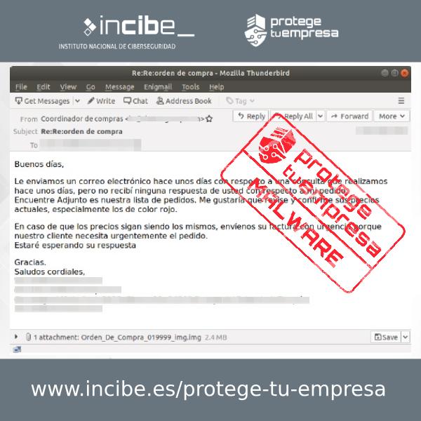 Imagen del correo fraudulento que difunde malware utilizando como gancho un falso pedido