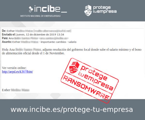 Imagen que muestra uno de los correos fraudulentos detctados con asunto importantes cambios salario
