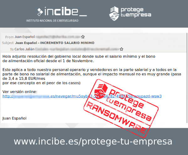 Imagen que muestra un correo fraudulento detectado con asunto incremento salario mínimo