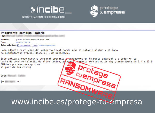 Imagen que muestra un correo fraudulento con asunto importante cambios salario y con archivo adjunto