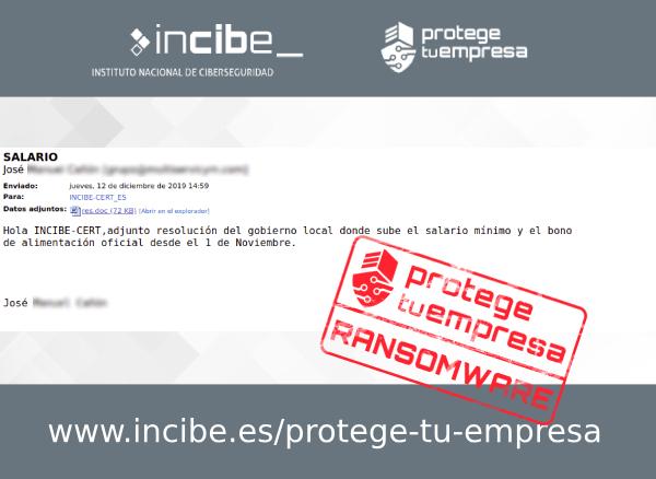 Imagen que muestra un correo fraudulento con asunto salario y con archivo adjunto