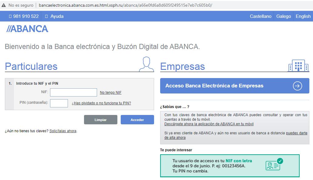 Aviso de seguridad 15/09/2020 - Página web phishing ABANCA