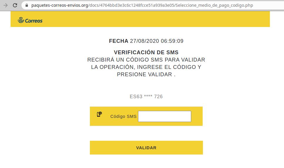 Aviso de seguridad 20/08/2020 - Solicitud código validación Correos