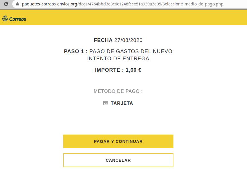 Aviso de seguridad 20/08/2020 - Página web phishing Correos