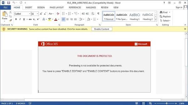 Archivo malicioso indicando que debe habilitarse la edición de contenido