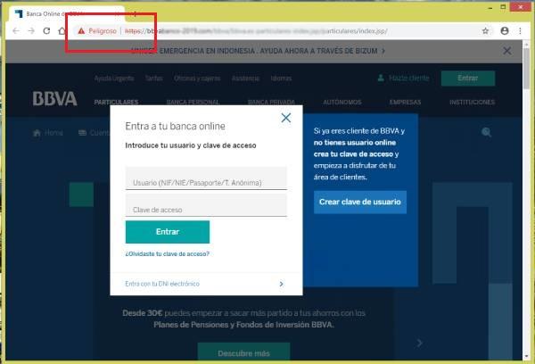 Imagen que muestra la pantalla principal fraudulenta del phishing donde hay que introducir las credenciales y donde se puede ver la ausencia de protocolo https
