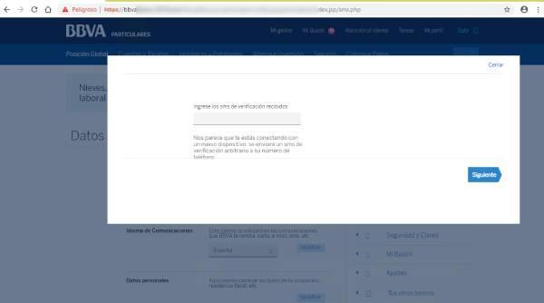 Imagen que muestra la página donde se redirige el phishing una vez introducidas las credenciales de acceso y que pide incluir un código SMS