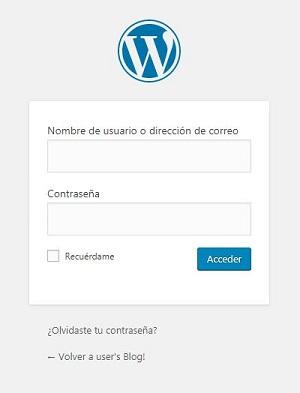 Imagen que muestra el acceso a la consola de administración de WordPress, donde hay que introducir el nombre de usuario y la contraseña.