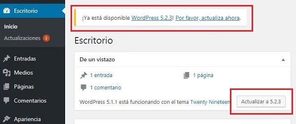 Imagen que muestra el aviso dentro del panel de administración de WordPress, de una nueva versión disponible para actualizar. En este caso la 5.2.3. Además se muestra el botón Actualizar a 5.2.3