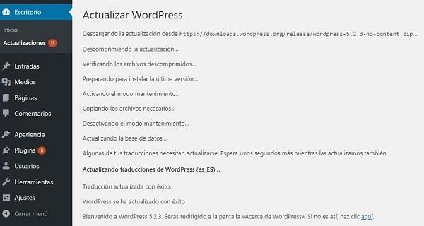 Imagen que muestra el progreso de la instalación de la actualización de WordPress.
