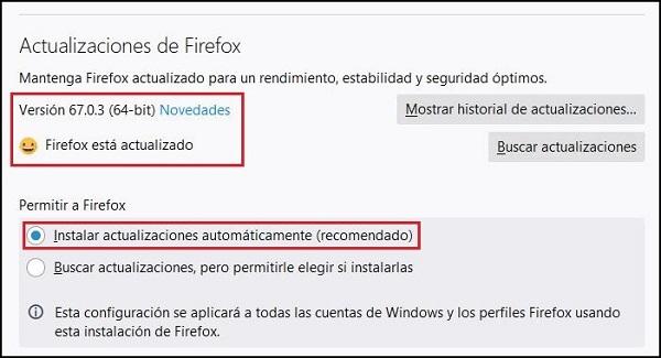 Imagen que muestra las opciones de Firefox donde se puede comprobar que están marcadas las actualizaciones automáticas y que se encuentra instalada la última versión. En este caso la 67.0.3