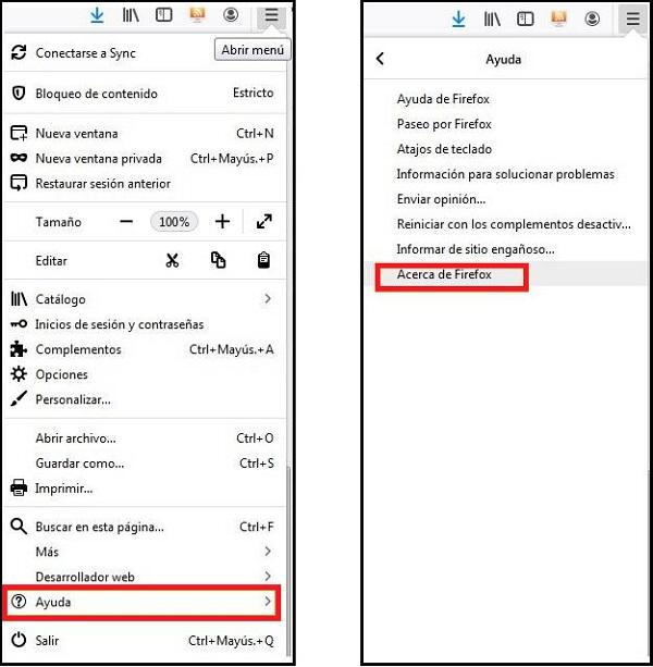 Imagen que muestra las opciones mencinadas: ayuda, acerca de Firefox