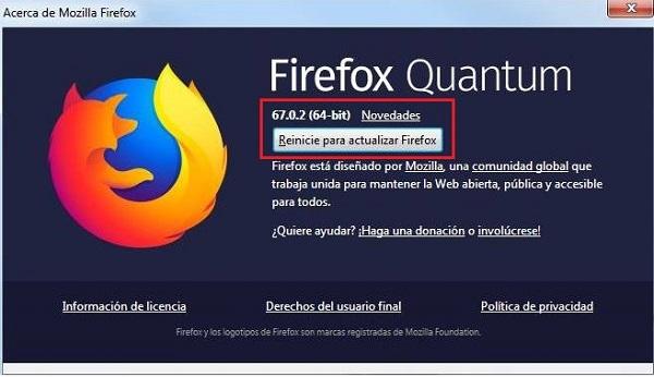 Imagen que muestra la pantalla resultante de entrar en las opciones anteriores, donde se puede ver un botón que dice el literal: reinicie para actualizar Firefox