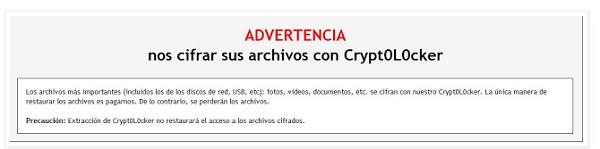 Mensaje de infección de Crypt0L0cker