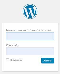 Imagen que muestra el inicio de WordPress, donde se insertará usuario y contraseña.