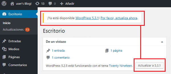 Imagen que muestra que está disponible la versión 5.3.1