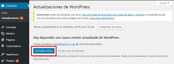 Imagen que muestra el botón actualizar ahora que iniciará el proceso de actualización de WordPress