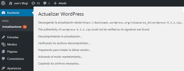Imagen que muestra el proceso de actualización de WordPress