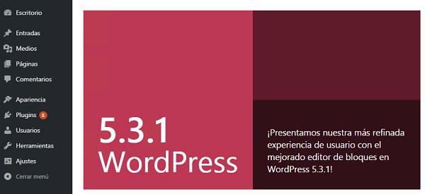 Imagen que muestra que WordPress se ha actualizado a la versión 5.3.1