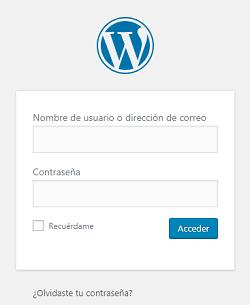 Imagen que muestra el cuadro de diálogo donde se introduce el nombre de usuario y la contraseña para acceder al panel de administración de WordPress
