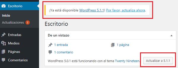Imagen que muestra las actualizaciones disponibles una vez pulsado escritorio, actualizaciones. En este caso se puede comprobar que está disponible la versión de WordPress 5.1.1