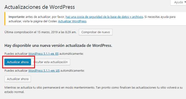 Imagen que muestra el botón actualizar ahora, que en este caso sería para actualizar a la versión de WordPress 5.1.1