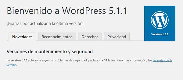 """Imagen que muestra el literal """"Bienvenido a WordPress 5.1.1"""", una vez concluida la actualización."""