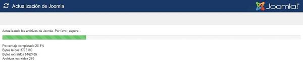 Imagen que muestra la barra de progreso de la instalación de la actualización de Joomla!