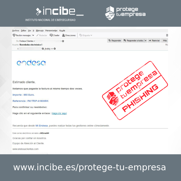 Imagen que muestra el correo fraudulento de phishing suplantando a endesa.