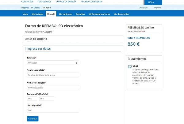 Imagen que muestra la página fraudulenta donde se piden datos personales y bancarios al usuario