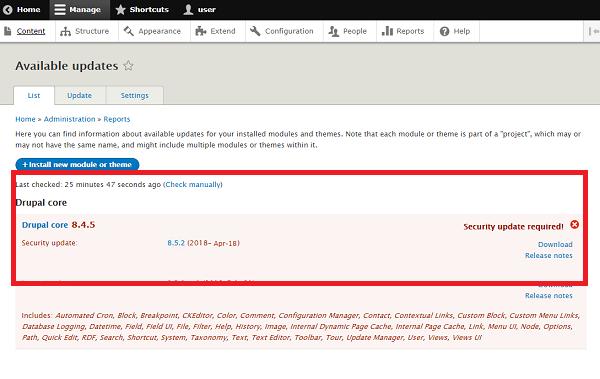 Captura de pantalla que muestra la actualización disponible en el propio gestor de contenidos.
