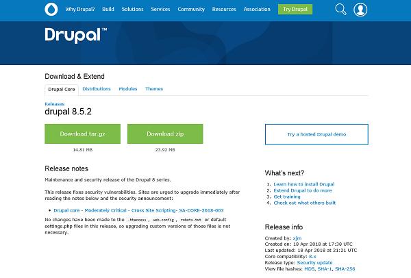 Captura de pantalla del sitio de web de drupal donde se muestra la versión de drupal 8.5.2 disponible para descargar