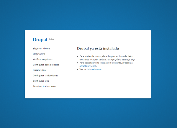 Captura de pantalla que muestra que el drupal se ha actualizado correctamente a al versión 8.5.2