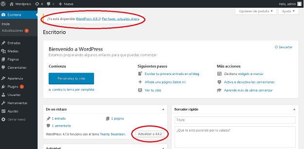 Instalación de WordPress 4.8.2